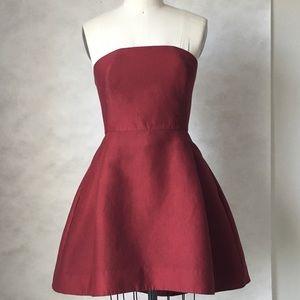 HALSTON HERITAGE Cotton Silk Strapless Dress